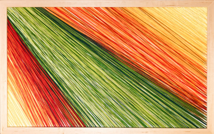 Jesień - Textile Art,  23.2x37x1.6 in, ©2018 by Magdalena Kulawik -                                                                                                                                                                                                                                                                                                                                                                                                                                                          Expressionism, expressionism-591, Wood, Other, Colors, Nature, Colours, nature, Autumn