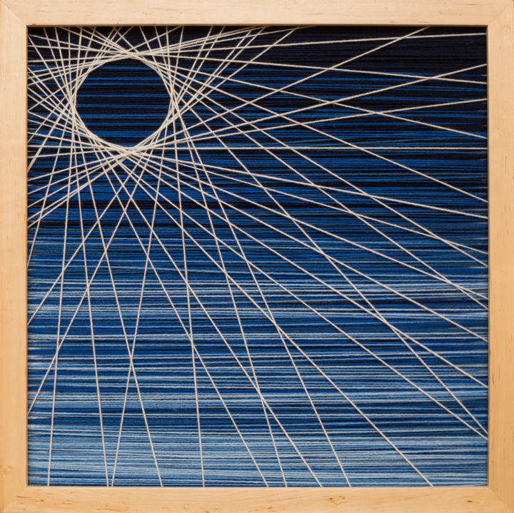 Blue Hole Sun - Textile Art,  22.4x22.4x1.6 in ©2019 by Magdalena Kulawik -                                                                                                            Abstract Expressionism, Abstract Art, Wood, Other, Geometric, Colors, Patterns, niebieski, promienie, blue, kolory, colors
