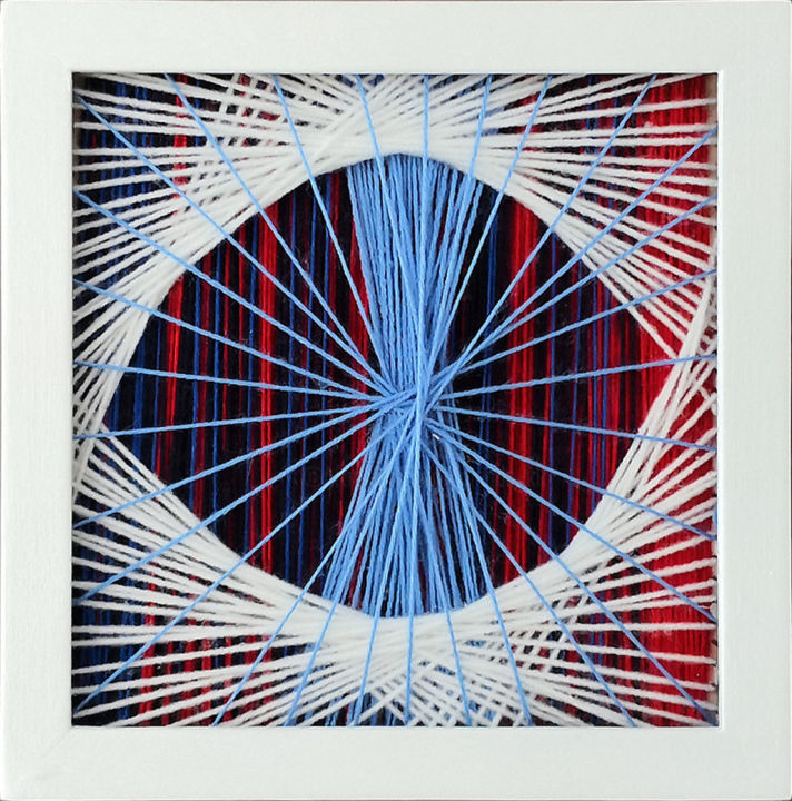 LondonEye - Textile Art,  8.7x8.7x1.2 in, ©2019 by Magdalena Kulawik -                                                                                                                                                                                                                                                                                                                                                                                                                                                                                                                                                                                              Abstract, abstract-570, Wood, Other, Geometric, Colors, Abstract Art, London, Eye, Color, Geometric, Abstract