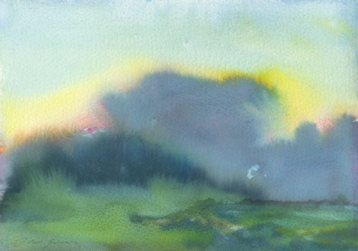 """Painting titled """"violet cloud"""" by Magdalena Gintowt-Juchniewicz, Original Art, Watercolor"""