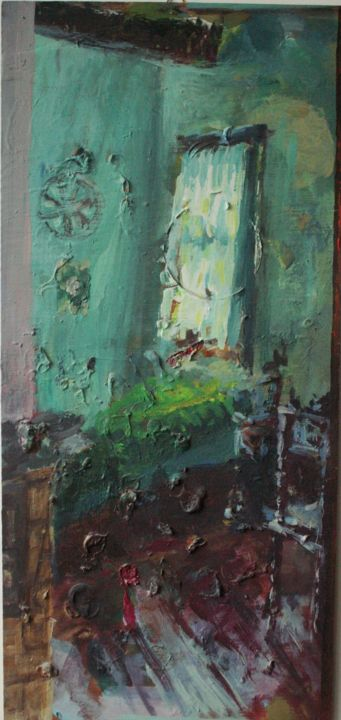 """Painting titled """"green chamber"""" by Magdalena Gintowt-Juchniewicz, Original Art, Acrylic"""