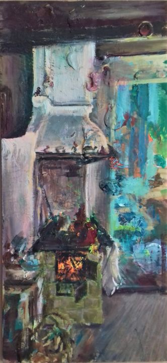 """Painting titled """"hot coals in the ki…"""" by Magdalena Gintowt-Juchniewicz, Original Art, Acrylic"""