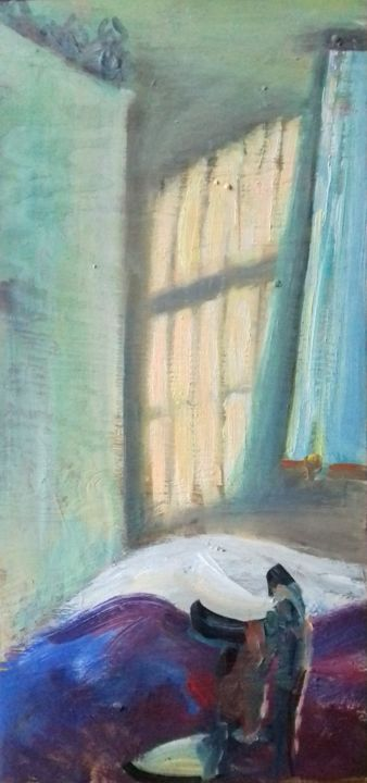 """Painting titled """"a window and a chair"""" by Magdalena Gintowt-Juchniewicz, Original Art, Acrylic"""