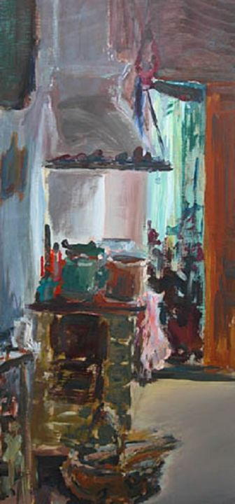 """Painting titled """"in the kitchen"""" by Magdalena Gintowt-Juchniewicz, Original Art, Acrylic"""