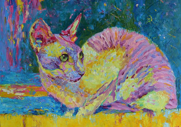 """Painting titled """"Cat Painting Pet Po…"""" by Magdalena Walulik, Original Art, Oil"""
