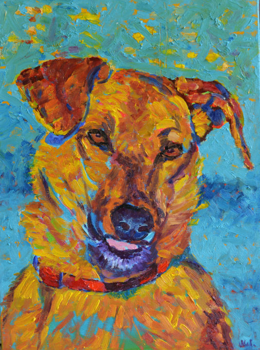 Dog Painting With Brush Pic
