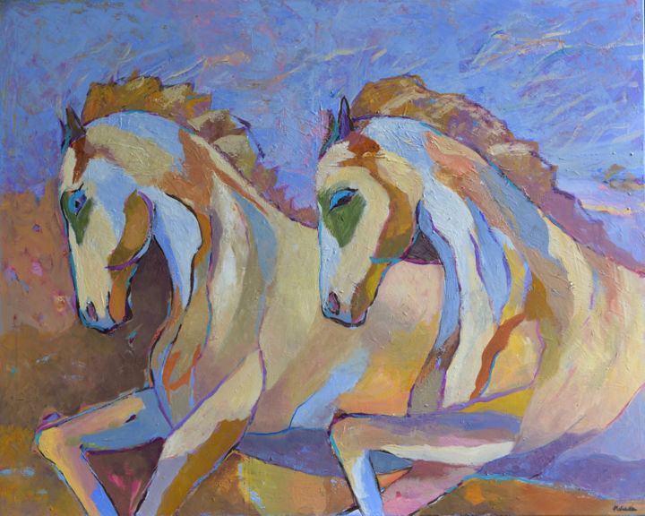 Running Horses Oil Painting On Canvas Konie Obraz Painting By