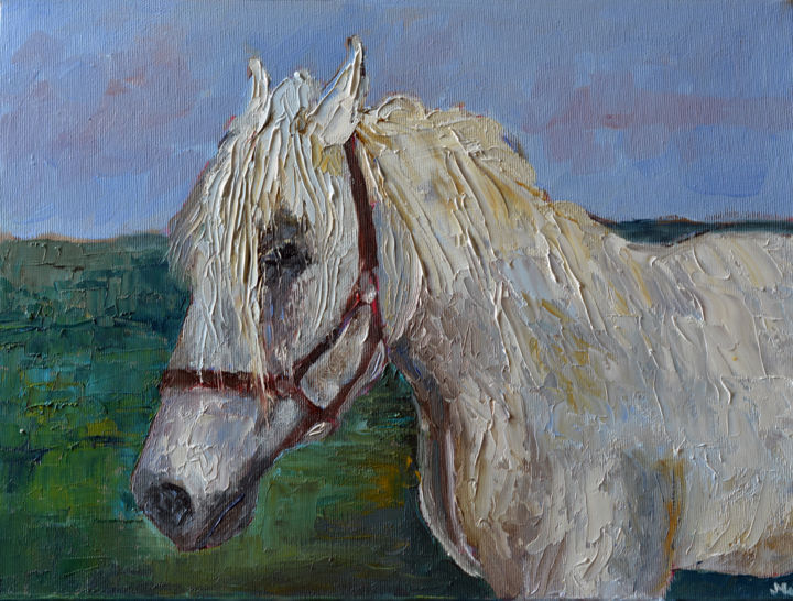 """Painting titled """"White Horse Paintin…"""" by Magdalena Walulik, Original Art, Oil"""