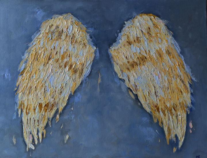 Famous Angel Wings for Wall Minimalist Gray Painting Art (Magdalena Walulik) SL16