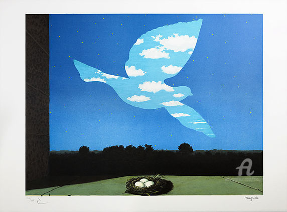 Le Retour - Printmaking,  22.8x30.7 in, ©2004 by René Magritte -                                                                                                                          Surrealism, surrealism-627