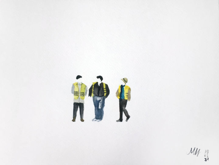 Workers - Painting,  7.1x9.5 in, ©2019 by Szabrina Maharita -                                                                                                                                                                                                                                                                                                                  Figurative, figurative-594, People, people, workers, walking