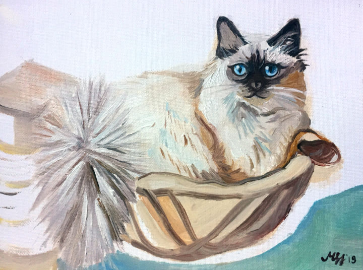 Coco 1 - Painting,  9.5x7.1x0.1 in ©2019 by Szabrina Maharita -                                                                                Contemporary painting, Expressionism, Figurative Art, Realism, Animals, cat, birman, black and white, cute, blue eyes, blue