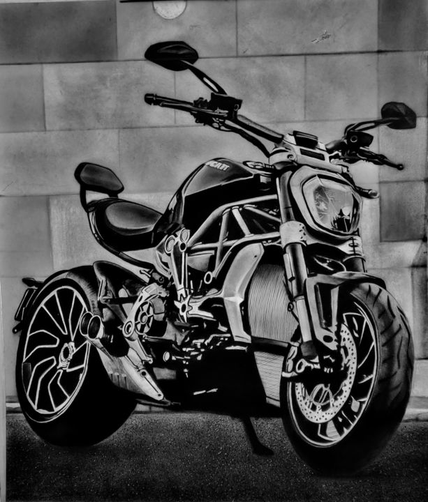 """Drawing titled """"motorcycle"""" by Mahdieh Dalvand, Original Art, Conté"""