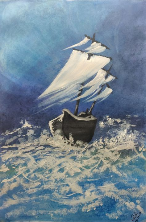 The Surviving Ship.jpg - Painting,  55x38 cm ©2018 by Mahfuzur Rahman -                                                                                                        Classicism, Conceptual Art, Expressionism, Impressionism, Sailboat, Seascape, Ships, Storm, Survive, Ship, Sail