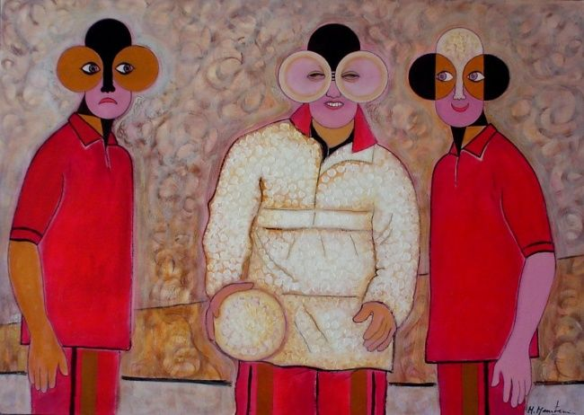 Football Players - Painting,  80x110 cm ©2003 by Mahirwan Mamtani -