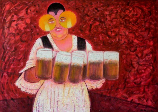 Beer Goddess - Painting,  80x110 cm ©2003 by Mahirwan Mamtani -