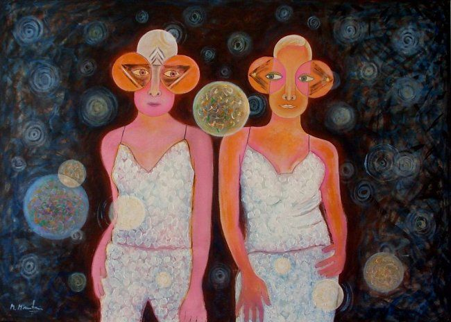 Twins - Painting,  80x110 cm ©2003 by Mahirwan Mamtani -