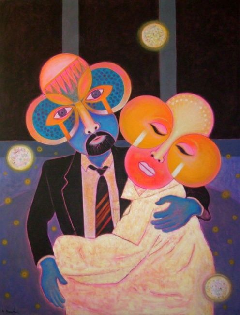 Couple - Painting,  200x150 cm ©2003 by Mahirwan Mamtani -