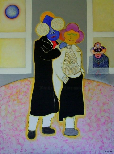 Partners - Painting,  59.1x43.3 in, ©2003 by Mahirwan Mamtani -