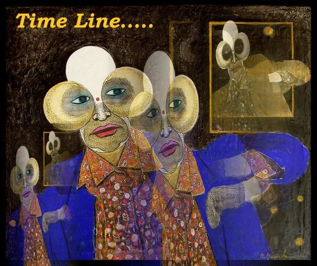 Time Line - Painting,  16.5x18.9 in, ©2007 by Mahirwan Mamtani -