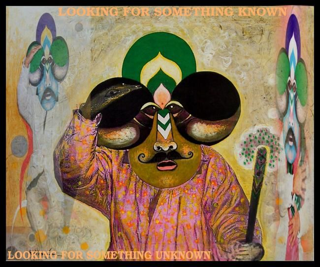 Looking for Unknown - Painting,  16.5x18.9 in, ©2007 by Mahirwan Mamtani -