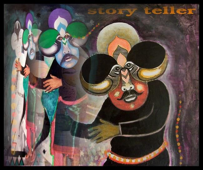 Story Teller - Painting,  16.5x18.9 in, ©2007 by Mahirwan Mamtani -