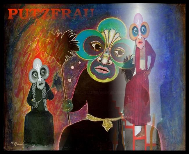 Putzfrau - Mixed Media,  42x48 cm ©2007 by Mahirwan Mamtani -