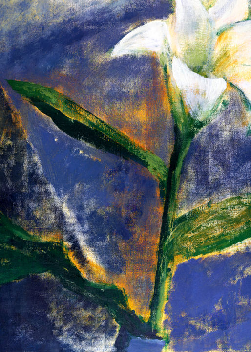 Lily - Painting, ©2018 by Maija Alina -                                                                                                                                                                                                                                                                                                                                                                                                                                                                                                  Impressionism, impressionism-603, Flower, Garden, Nature, Still life, Lily Painting, Still Life Painting, Abstract Flower, Blue Painting