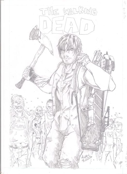 The Walking Dead Daryl Dixon Drawing By Mantis Artmajeur