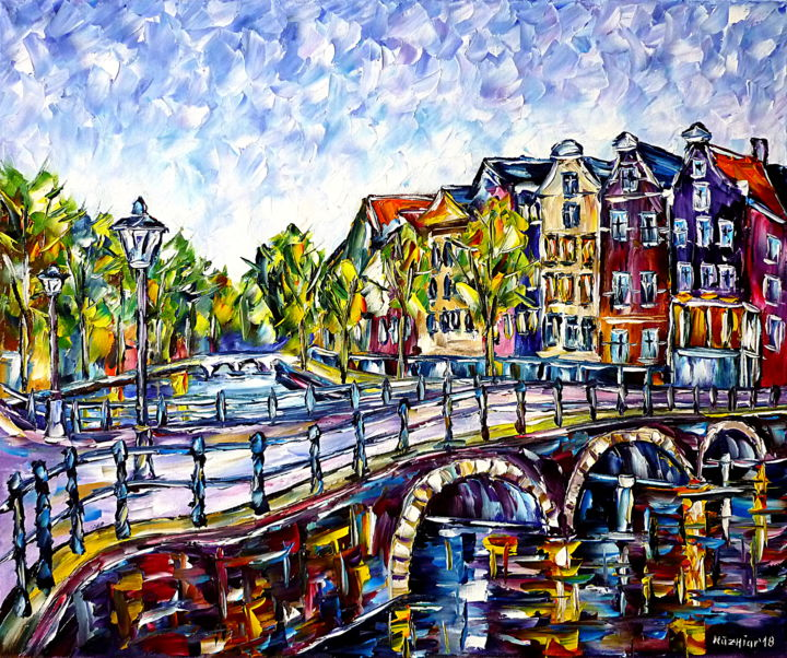 Die Grachten von Amsterdam - Painting,  19.7x23.6x0.8 in, ©2018 by Mirek Kuzniar -                                                                                                                                                                                                                                                                                                                                                                                                                                                                                                                                                                                                                                                                                                                                                                                                                                                                                                                                                                                                                                                                                                                                                                                                                                                                              Impressionism, impressionism-603, Architecture, Places, Travel, artwork_cat.Cityscape, artwork_cat.Cities, amsterdamgemälde, amsterdam brücke, amsterdam kanäle, amsterdamliebe, ich liebe amsterdam, hollandliebhaber, spachtelmalerei, bunte häuser, schönes amsterdam, amsterdam painting, amsterdam bridge, amsterdam canals, amsterdam lovers, i love amsterdam, colorful houses, beautiful amsterdam, palette knife oil painting, holland lovers, stadt und natur, city and nature
