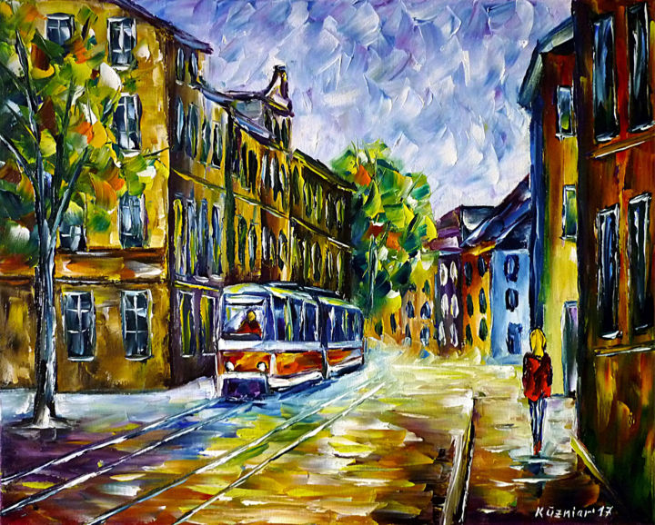 Straßen von Gera - Painting,  15.8x19.7x0.8 in, ©2017 by Mirek Kuzniar -                                                                                                                                                                                                                                                                                                                                                                                                                                                                                                                                                                                                                                                                                                                                                                                                                                                                                                                                                                                                                                                                                                                                                                                                                                                                              Impressionism, impressionism-603, Architecture, Places, Travel, artwork_cat.Cityscape, artwork_cat.Cities, straßenbahn, tramgemälde, ostdeutschland, stadtszenerie, stadtszene, stadtgemälde, geragemälde, ostdeutschlandliebhaber, ostdeutschlandliebe, spachteltechnik, ichliebegera, deutschestadt, eastgermany, trolley painting, tram painting, cityscape, city scene, palette knife oil painting, germany lovers, german city