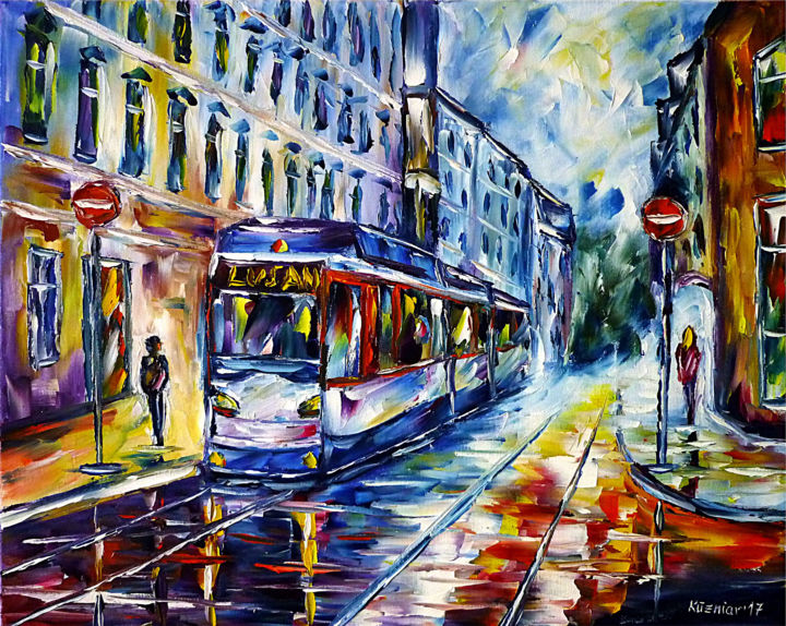 Straßenbahn in Gera - Painting,  15.8x19.7x0.8 in, ©2017 by Mirek Kuzniar -                                                                                                                                                                                                                                                                                                                                                                                                                                                                                                                                                                                                                                                                                                                                                                                                                                                                                                                                                                                                                                                                                                                                                                                                                                                                              Impressionism, impressionism-603, Architecture, Places, Travel, artwork_cat.Cityscape, artwork_cat.Cities, geragemälde, straßenbahngemälde, straßenbahnbild, ostdeutschlandliebe, ostdeutschlandliebhaber, ich liebe ostdeutschland, stadtszene, stadtszenerie, spachteltechnik, tramgemälde, tram painting, trolley painting, city scene, german city, cityscape, i love germany, germany lovers, palette knife oil painting, east germany, deutsche stadtlandschaft