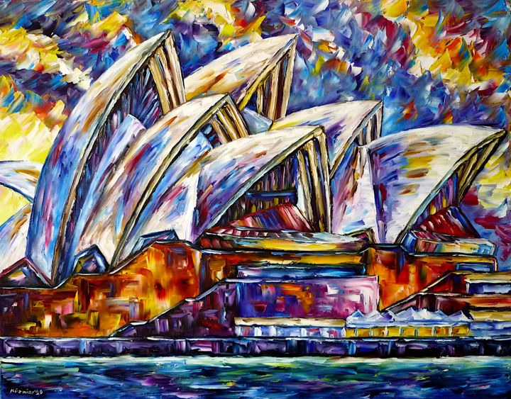 Sydney Opera House - Painting,  27.6x35.4x0.8 in, ©2020 by Mirek Kuzniar -                                                                                                                                                                                                                                                                                                                                                                                                                                                                                                                                                                                                                                                                                                                                                                                                                                                                                                                                                                                                                                                                                                                                                                                                                                                                              Abstract, abstract-570, Architecture, Celebrity, Places, Travel, artwork_cat.Cities, opera house gemälde, sydney opernhaus, opera house painting, farbenfrohe stadtlandschaft, ich liebe sydney, i love sydney, sydney lovers, australia lovers, i love australia, colorful sydney painting, beautiful sydney, sydney liebhaber, australien liebhaber, ich liebe australien, sky over sydney, himmel über sydney, colorful city painting, opernhaus gemälde, opera house abstract, opernhaus abstrakt
