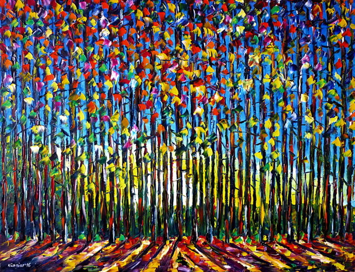 Herbstwald - Malerei,  27,6x35,4x0,7 in, ©2016 von Mirek Kuzniar -                                                                                                                                                                                                                                                                                                                                                                                                                                                                                                                                                                                                                                                                                                                                                                                                                                                                                                                                                                                                                                                                                                                                                                                                                                  Abstract, abstract-570, artwork_cat.Colors, Jahreszeiten, Landschaft, Natur, wald im herbst, bunter wald, waldlandschaft, wald abstrakt, herbststimmung, herbstbäume, herbstlicht, herbstfarben, autumn forest, colorful forest, colorful autumn, farbenfroher herbst, forest landscape, forest abstract, autumn mood, autumn light, autumn colors, autumn trees, forest in autumn, autumn lovers