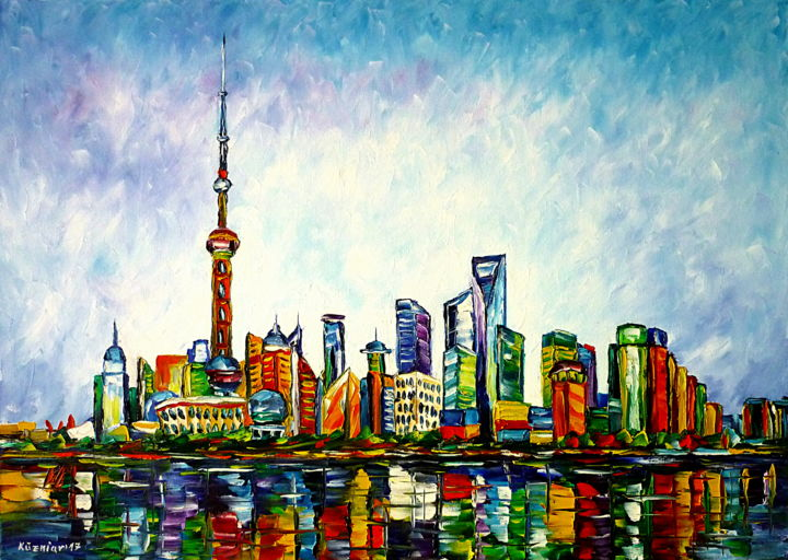 Shanghai, Skyline - Painting,  19.7x27.6x0.8 in, ©2017 by Mirek Kuzniar -                                                                                                                                                                                                                                                                                                                                                                                                                                                                                                                                                                                                                                                                                                                                                                                                                                                                                                                                                                                                                                                                                                                                                                                                                                                                              Abstract, abstract-570, Architecture, Asia, Places, artwork_cat.Cityscape, artwork_cat.Cities, shanghai gemälde, shanghai liebe, ich liebe shanghai, farbenfrohes gemälde, stadt skyline, skyline gemälde, .himmel über shanghai, skyline malen, stadtmalerei, shanghai painting, shanghai lovers, i love shanghai, colorful city painting, skyline painting, sky over shanghai, colorful cityscape, farbenfrohe stadtlandschaft, asia lovers, asien liebhaber, i love asia