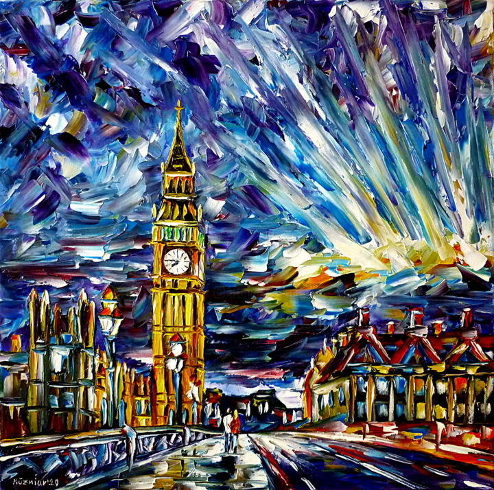 Big Ben - Painting,  19.7x19.7x0.7 in, ©2020 by Mirek Kuzniar -                                                                                                                                                                                                                                                                                                                                                                                                                                                                                                                                                                                                                                                                                                                                                                                                                                                                                                                                                                                                                                                                                                                                                                                                                                                                              Abstract, abstract-570, Architecture, Celebrity, Places, artwork_cat.Cityscape, artwork_cat.Cities, london am abend, abendhimmel über london, big ben gemälde, abendsonnenstrahl, himmel abstrakt, london abstrakt, londonliebe, ich liebe london, london in the evening, evening sky over london, big ben painting, evening sun beams, i love london, london lovers, london abstract, colorful london painting, buntes londongemälde, westminster bridge, sky painting abstract, evening colors