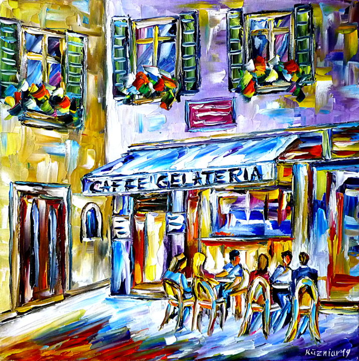 Italienisches Flair - Malerei,  15,8x15,8x0,8 in, ©2019 von Mirek Kuzniar -                                                                                                                                                                                                                                                                                                                                                                                                                                                                                                                                                                                                                                                                                                                                                                                                                                                                                                                                                                                                                                              Abstract, abstract-570, italienisches straßencafe, menschen im cafe, im cafe draußen sitzen, sommer in italien, cafeszene, farbenfrohes cafegemälde, italienliebe, ich liebe italien, italian cafe, people in a street cafe, cafe outside, summer in italy, cafe scenery, colorful cafe painting, italy lovers, i love italy, italian life style, schönes italien, beautiful italy, italienisches lebenstil