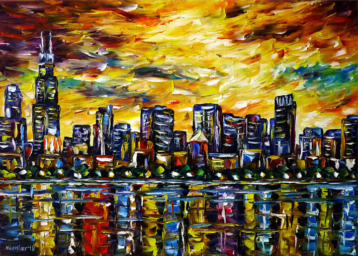 Chicago Skyline - Malerei,  19,7x27,6x0,8 in, ©2018 von Mirek Kuzniar -                                                                                                                                                                                                                                                                                                                                                                                                                                                                                                                                                                                                                                                                                                                                                                                                                                                                                                                                                                                                                                              Abstract, abstract-570, himmel über chicago, chicago am abend, leuchtender abendhimmel, ich liebe chicago, chicago liebhaber, abendsonnenstrahl, chicago abstract, chicago farbenfroh, wasserspiegelungen, reflections, sky over chicago, chicago in the evening, shining evening sky, i love chicago, chicago lovers, evening sunbeams, colorful chicago, abendstimmung, evening mood, burning sky