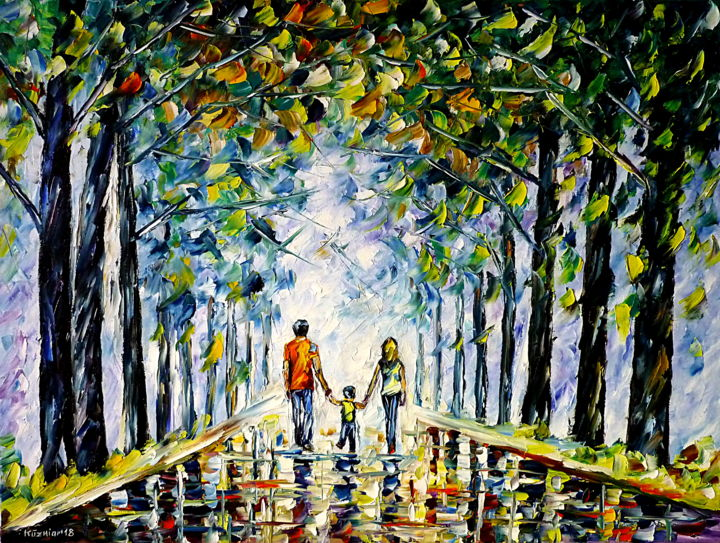 Familienspaziergang - Malerei,  23,6x31,5x0,8 in, ©2018 von Mirek Kuzniar -                                                                                                                                                                                                                                                                                                                                                                                                                                                                                                                                                                                                                                                                                                                                                                                                                                                                                                                                                                                                                                              Impressionism, impressionism-603, familie mit kind, familie im park, parkspaziergang, parklandschaft, im park spazieren, hand in hand, hände halten, mutterherz, vaterrolle, family walk, family with child, family in the park, a walk in the park, park walk, holding hands, park landscape, mother love, mutterliebe, vaterliebe, father love