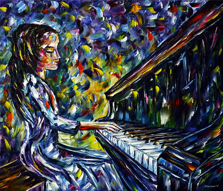 Junge Klavierspielerin - Malerei,  23,6x27,6x0,8 in, ©2017 von Mirek Kuzniar -                                                                                                                                                                                                                                                                                                                                                                                                                                                                                                                                                                                                                                                                                                                                                                                                                                                                                                                                                                                                                                              Figurative, figurative-594, junge pianistin, klavier spielen, klavier liebe, ich liebe klavier, mädchen am piano, mädchen am klavier, musikerin, klaviermusik, young piano player, young pianist, piano playing, i love piano, piano lovers, piano love, girl plays piano, musician painting, piano music, young girl at the piano, music lovers, i love music