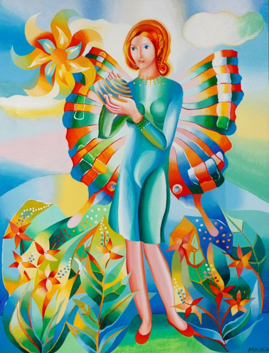 The spring has wings - Painting,  75x55 cm ©2018 by Mairim Perez Roca -                                                                                                        Figurative Art, Contemporary painting, Realism, Canvas, Fairytales, Spirituality, Seasons