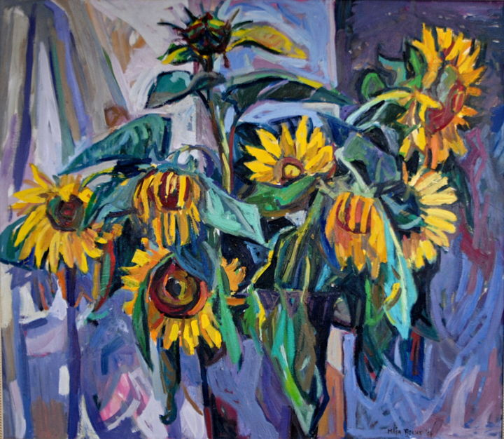 Sunflowers I - Painting,  27.6x31.5x0.8 in, ©2004 by Maja Djokic Mihajlovic -                                                                                                                                                                          Impressionism, impressionism-603, Flower