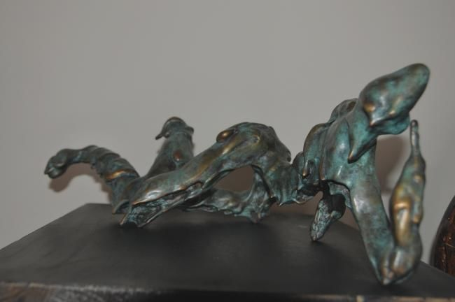 RECLINING MAN II - Sculpture,  15x43x17 cm ©2011 by Majd -            #BRONZE #reclining #male #sculpture #majdsculptures