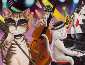 """Painting titled """"Cat's Jazzin (Limit…"""" by Martin, Original Art, Other"""
