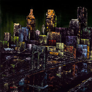 """Painting titled """"Faux City (Brooklyn…"""" by Martin, Original Art, Oil"""
