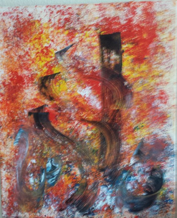 chems-peinture-acrylique-sur-toile-60x50-499e-2.jpg - Painting,  60x50x2.5 cm ©2018 by Abdelmajid OURIAD -                        Abstract Art