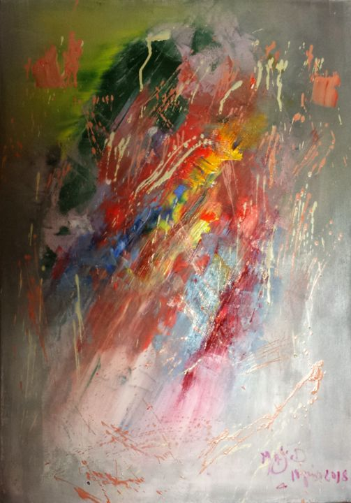 AMOUR EMOTION - Painting,  65x45x0.3 cm ©2018 by Abdelmajid OURIAD -                                                        Abstract Art, Canvas, Abstract Art