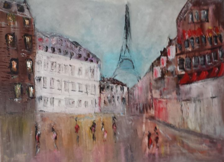 PARIS - Painting,  0.55x0.73x3 cm ©2019 by Abdelmajid OURIAD -                                                        Figurative Art, Canvas, Places