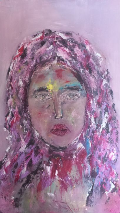 SERIE PORTRAIT DE FEMME  3 - Painting,  0.65x0.45x3 cm ©2019 by Abdelmajid OURIAD -                                                        Portraiture, Canvas, Women