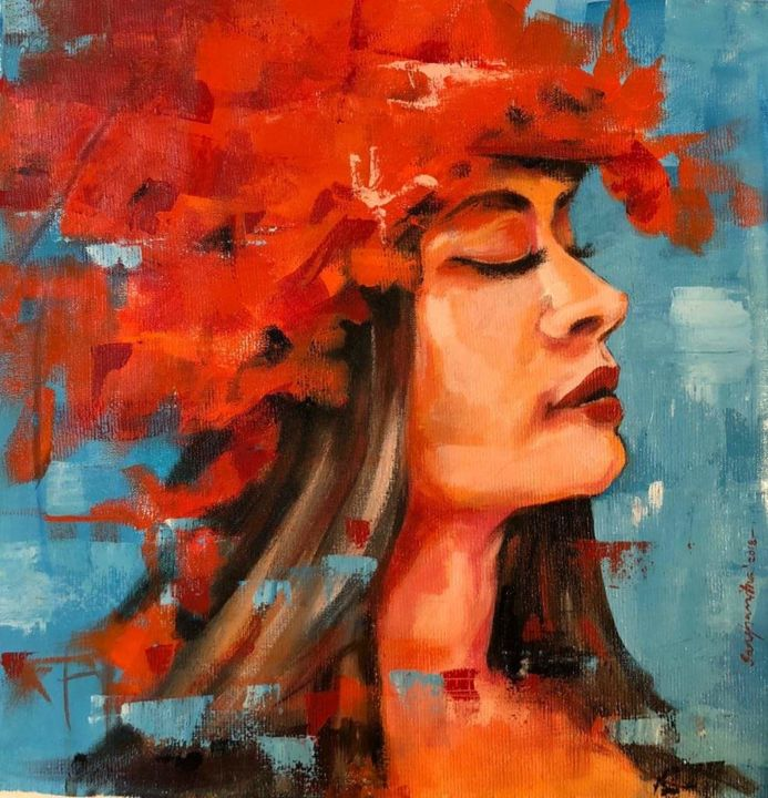 """Painting titled """"Girl with red hat.j…"""" by Sanghamitra Roy Majumder, Original Art,"""
